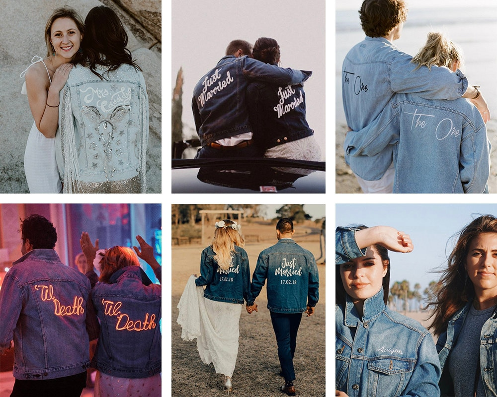 A collage of couples' matching wedding jackets available on Etsy.