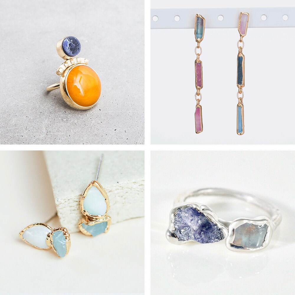 A collage of dual stone jewelry from Etsy