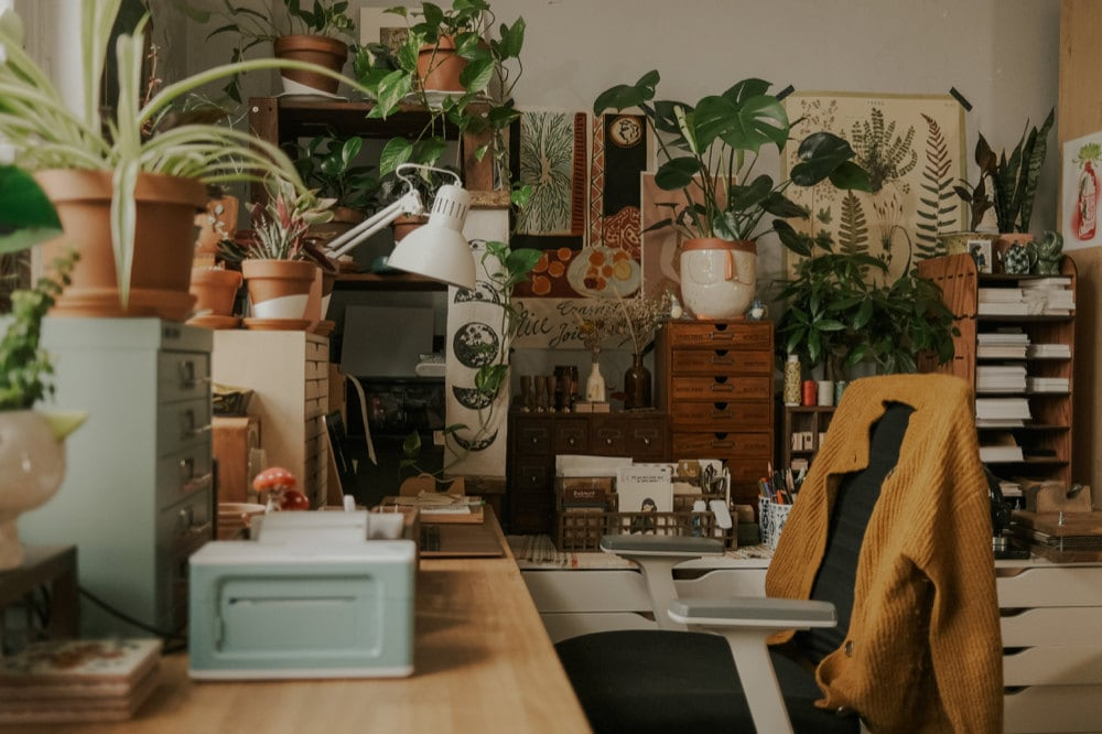 Justine's workspace, filled with pictures and plants.