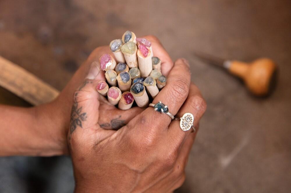 Gemstone jewelry in progress