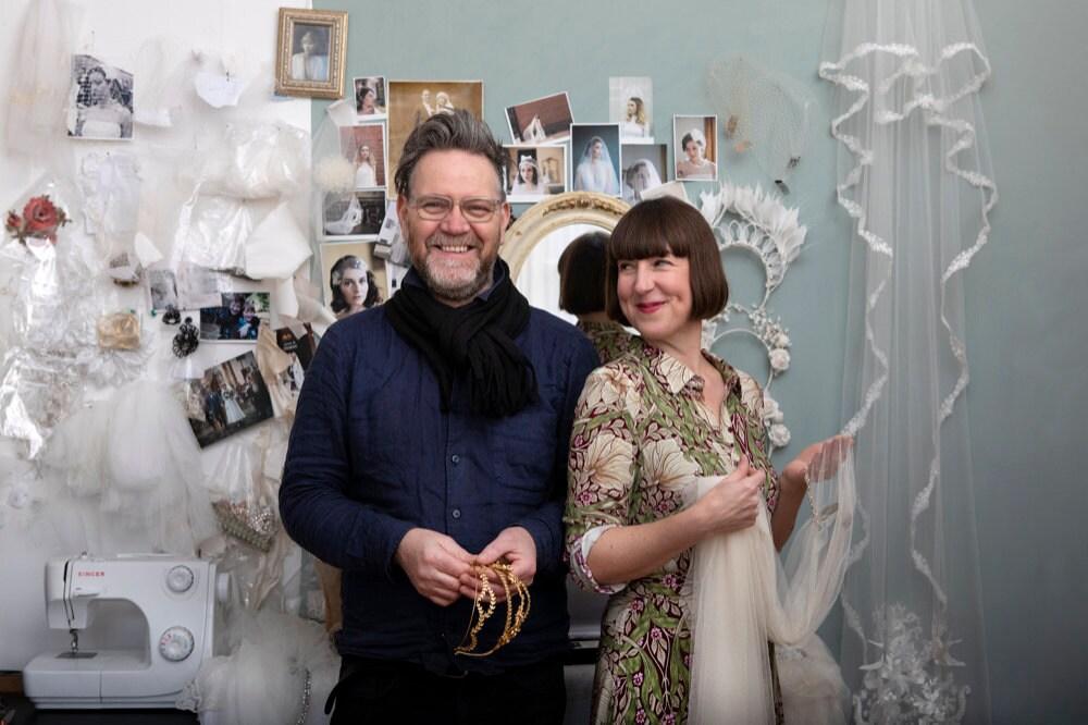 Portrait of Rae and her husband, Paul, in Rae's London studio.