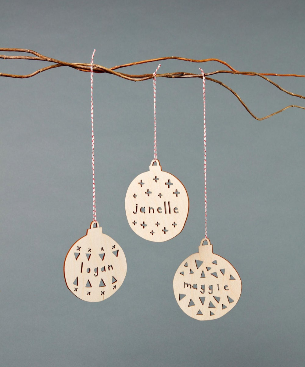Personalized Christmas bauble ornament from Light + Paper