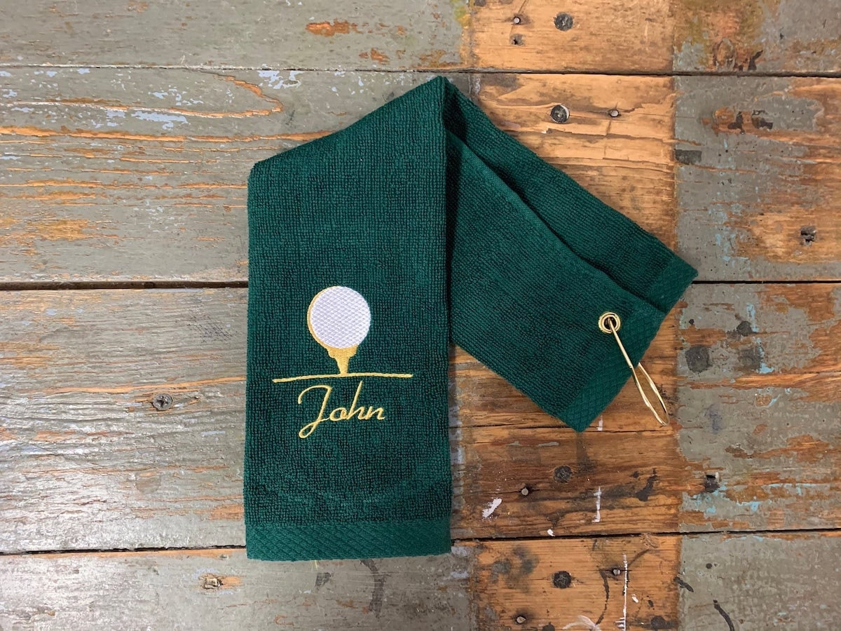 Custom embroidered terry golf towel from Tango Graphics, and other personalized Father's Day gifts from Etsy