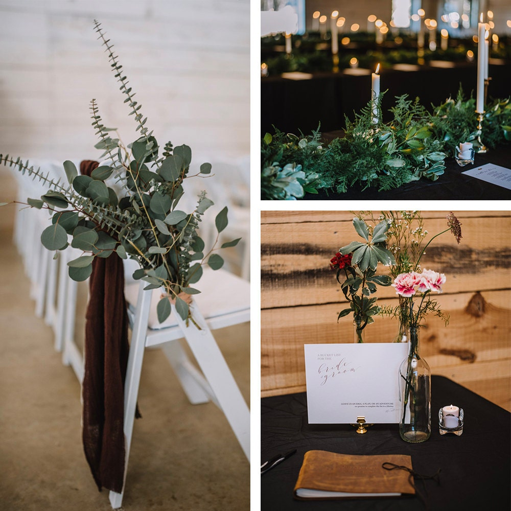 A collage of decor details from Emily and Terrell's wedding day