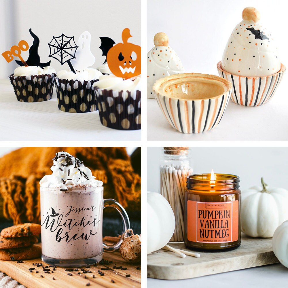 A collage of Halloween table settings available on Etsy.