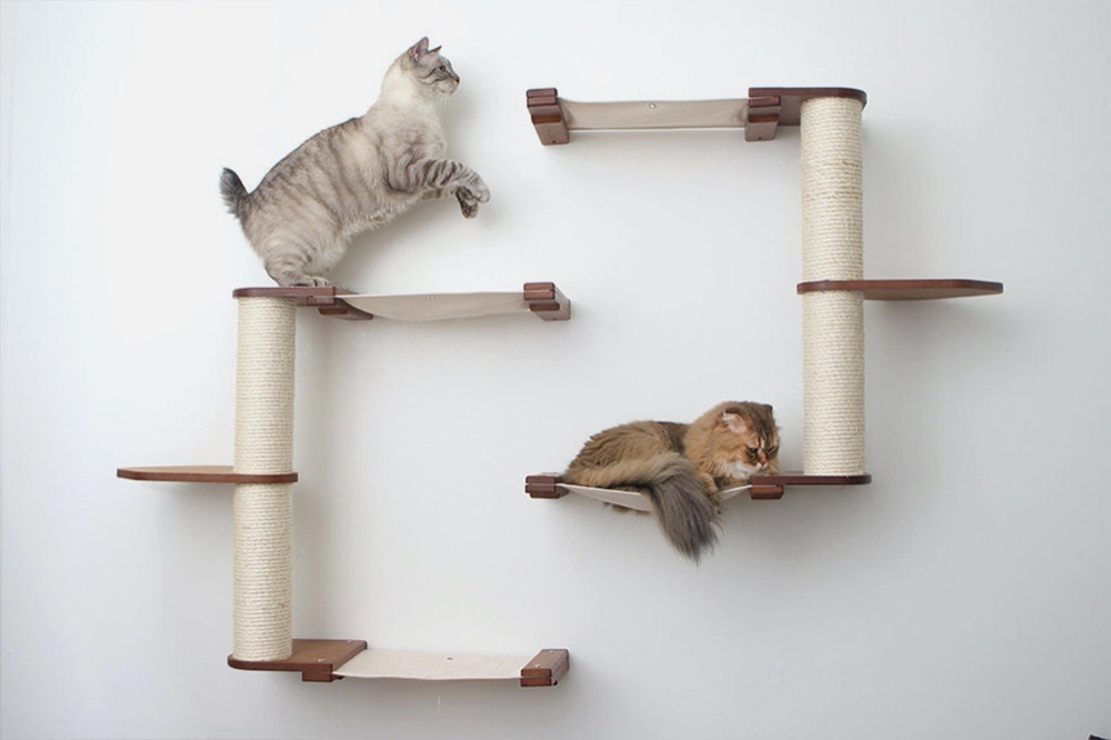 A wall-mounted modular cat furniture system from CatastrophiCreations