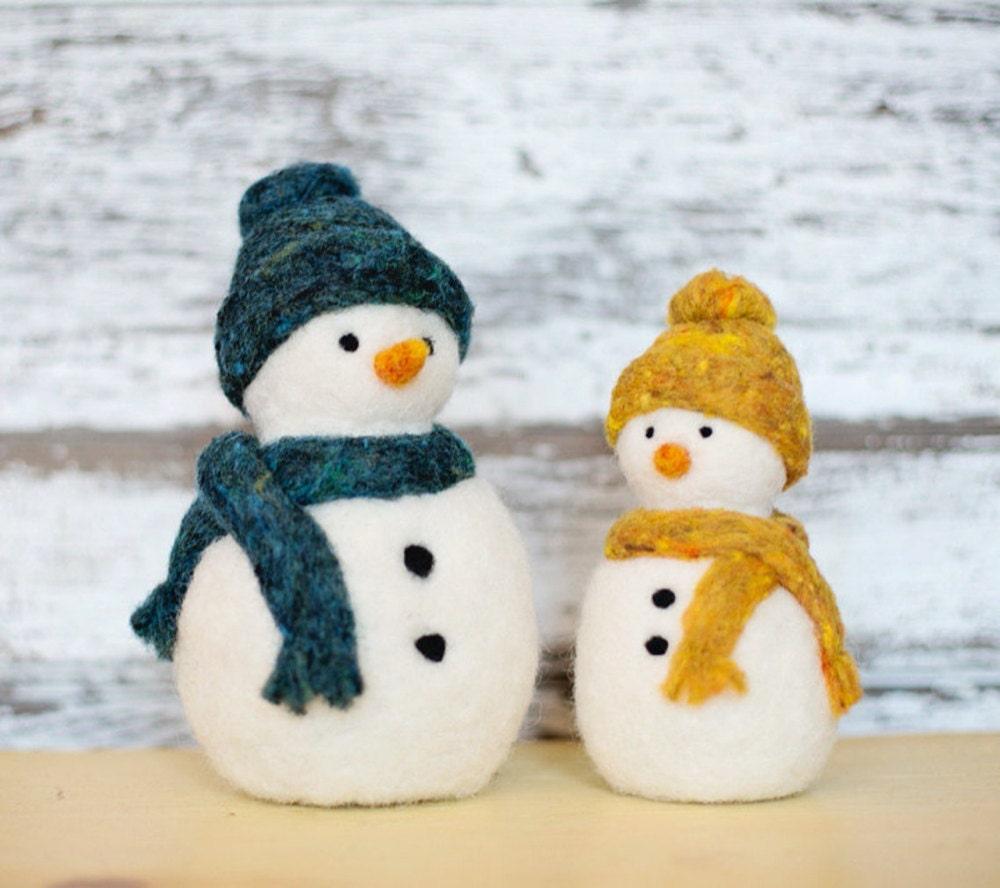 Snowmen needle felting kit from Felted Sky