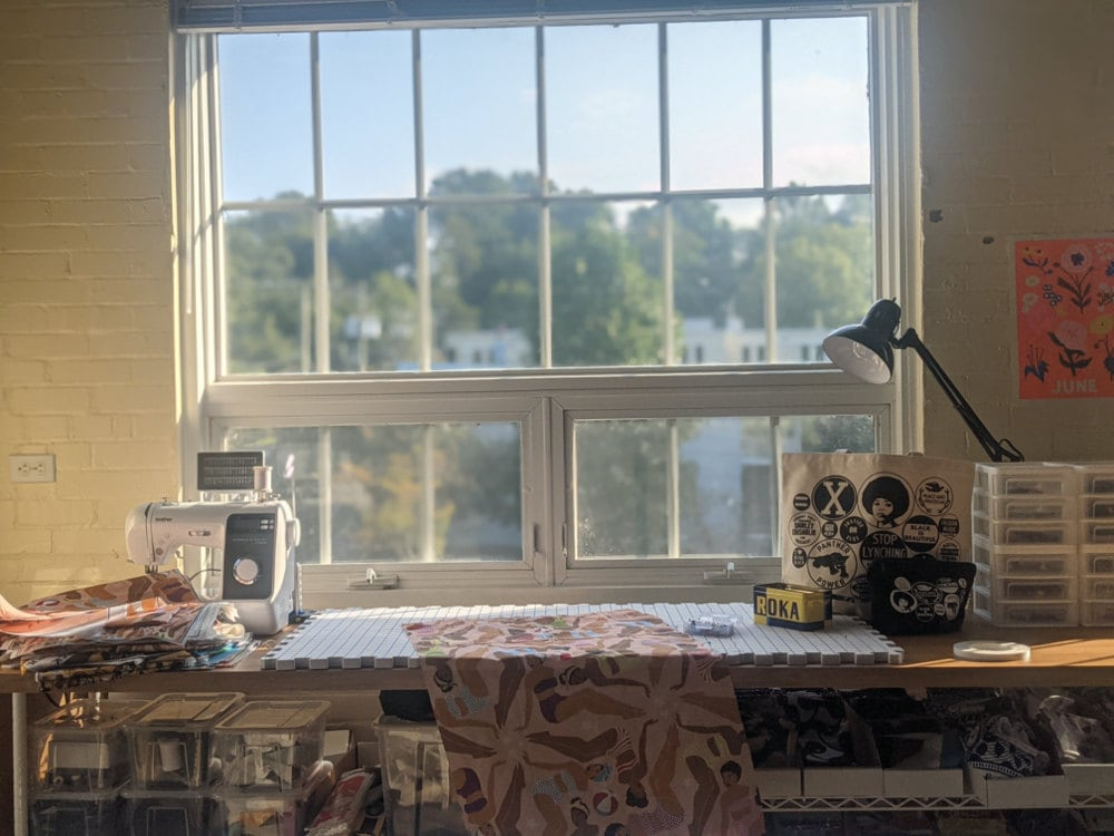 Ama's workbench in her D.C. studio.