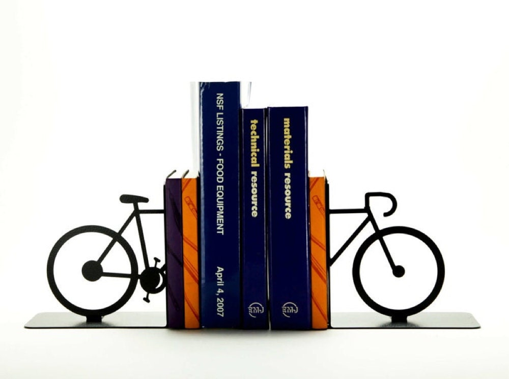 Bicycle bookends from Knob Creek Metal Arts