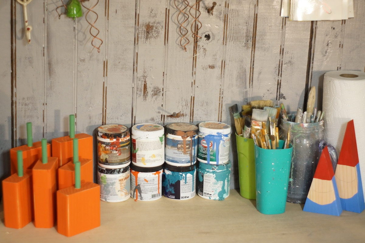 Assorted supplies and materials in the GFT Woodcraft studio
