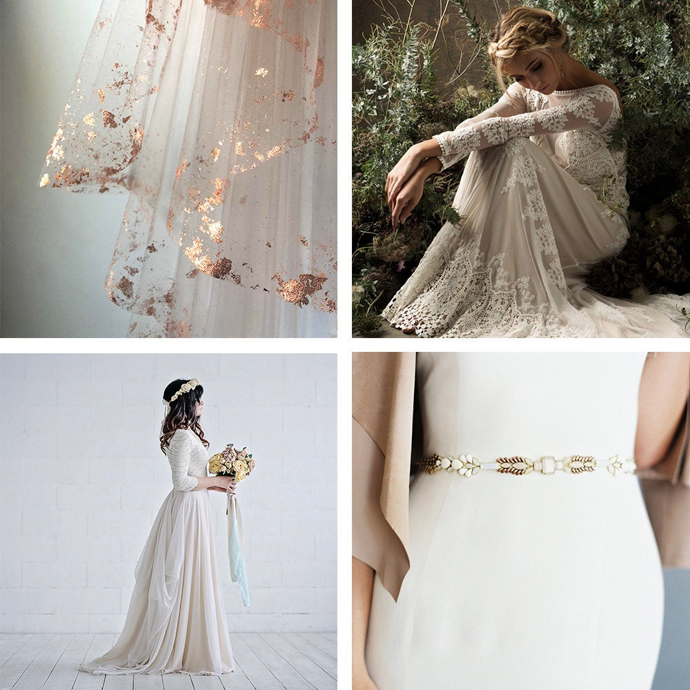 A collage of bridal attire from Etsy