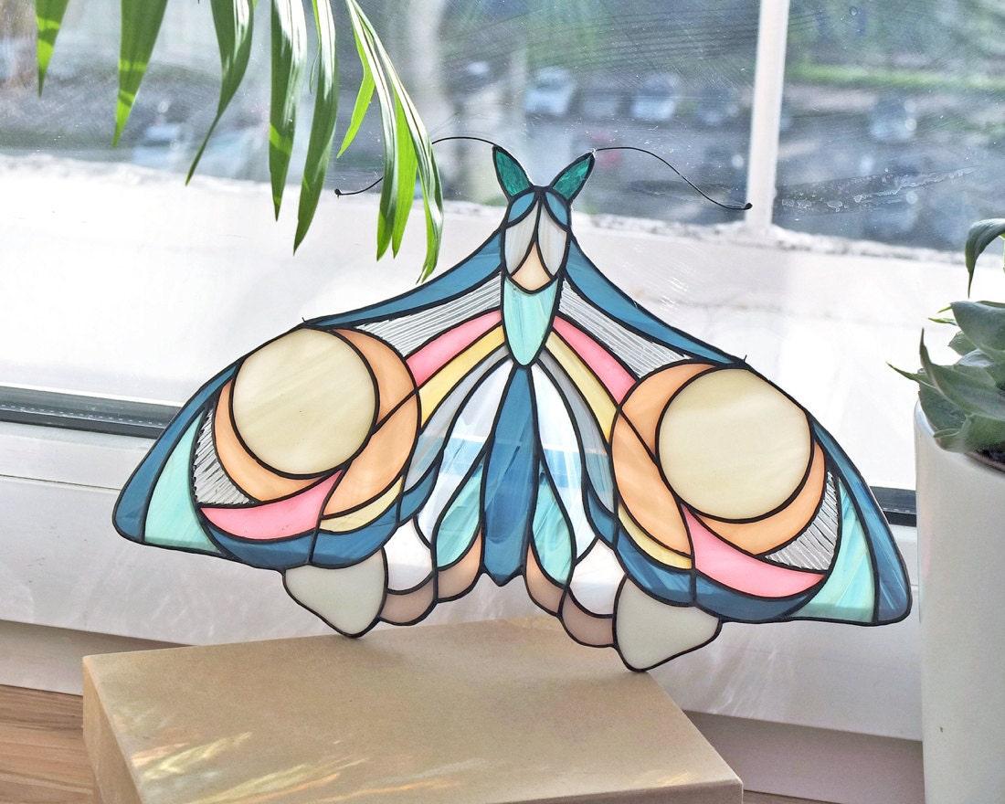 Hanging stained-glass moth suncatcher from Elena Zaycman