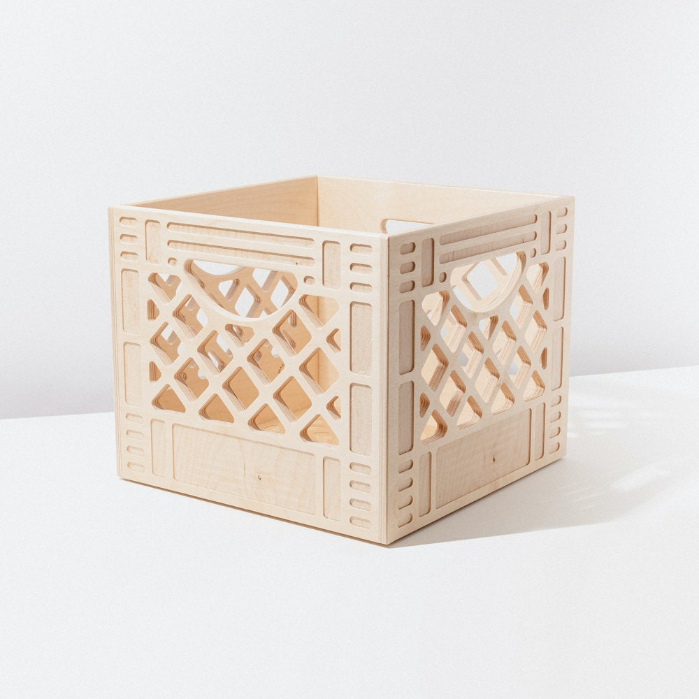 A wooden milk crate from WAAM Industries.