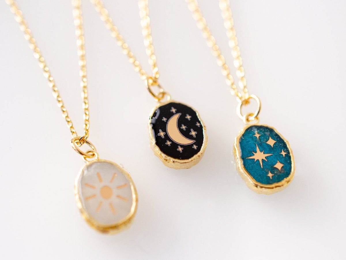 A trio of celestial necklaces from Jill Makes