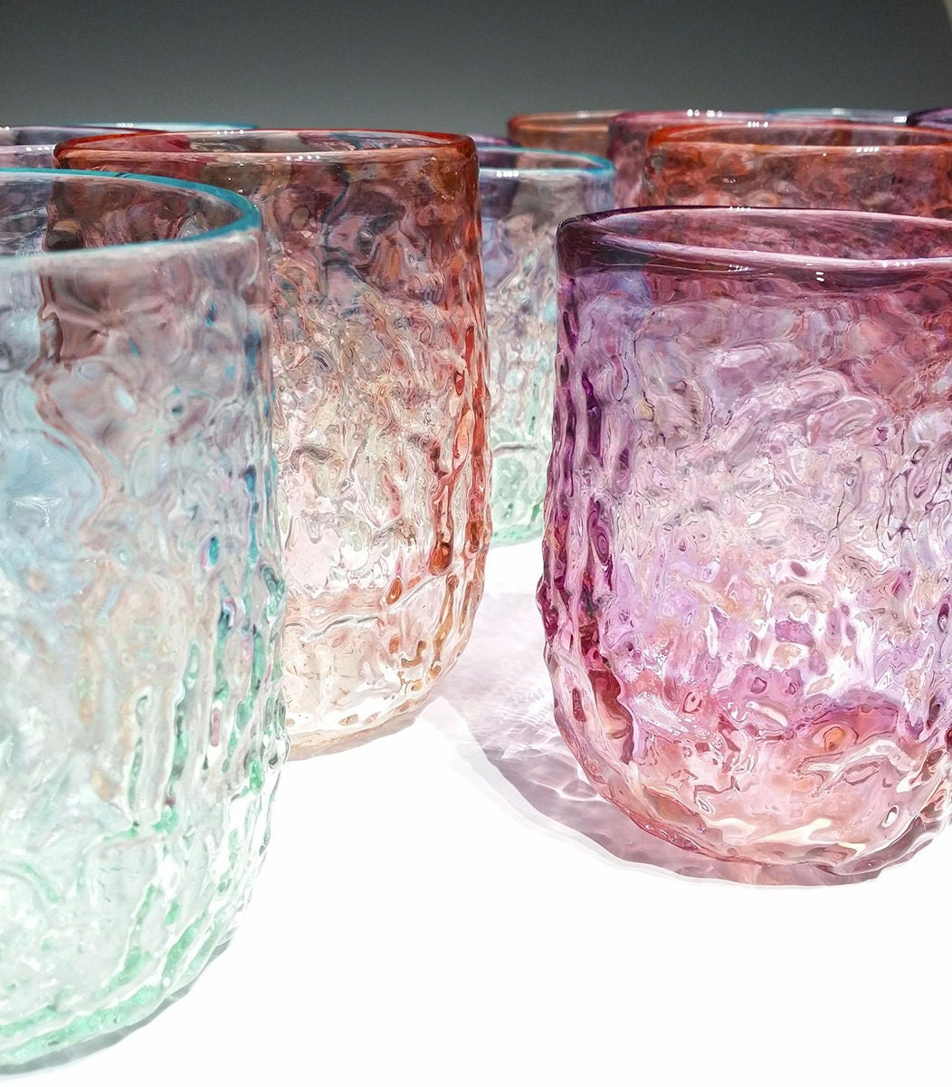 Colorful glassware from Etsy