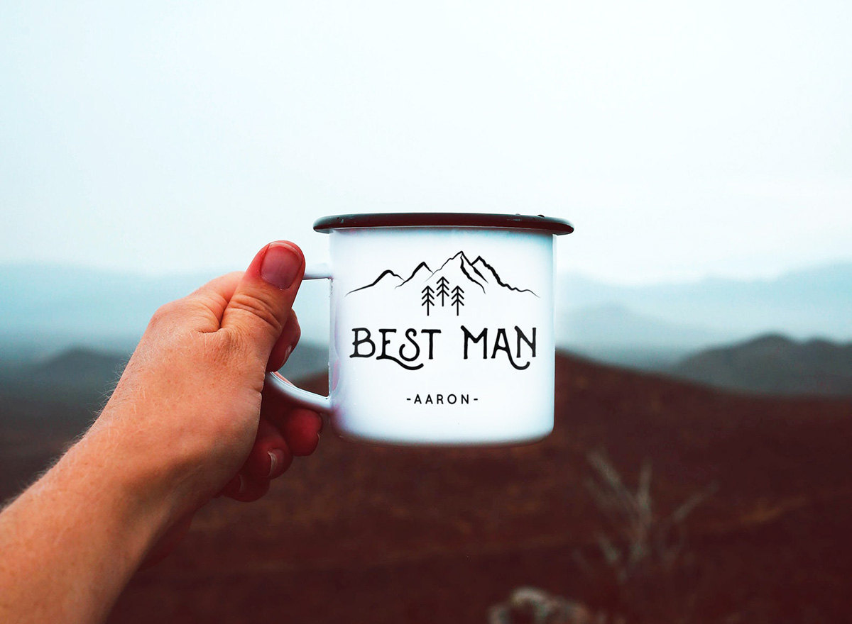 Camping mug groomsmen gifts from The Odysea, on Etsy