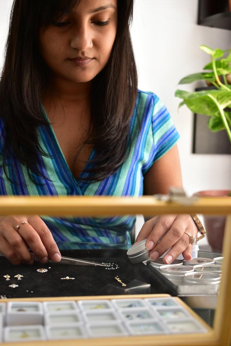 Madhulika sorts loose diamonds and gemstones