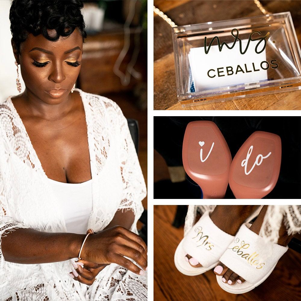 A collage of accessories Addy wore on her wedding day, available on Etsy.