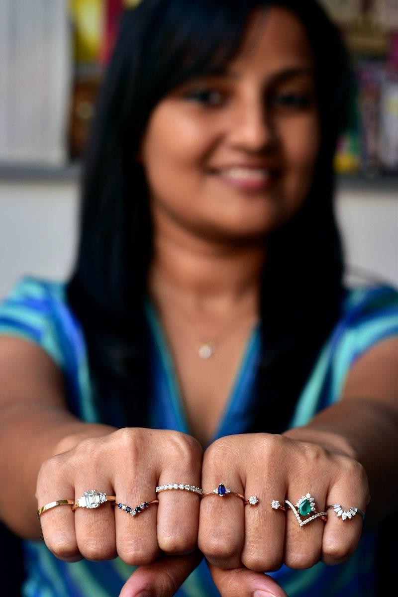 Madhulika models an assortment of Abhika Jewels rings on her fingers