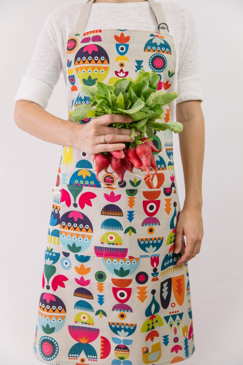 A colorful Nordic kitchen apron from Softer and Wild