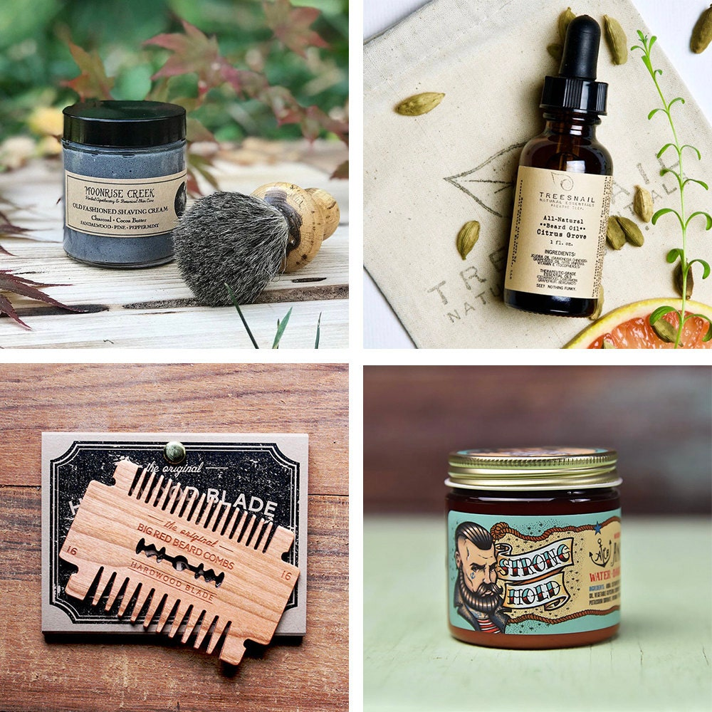 A collage of men's grooming items from Etsy