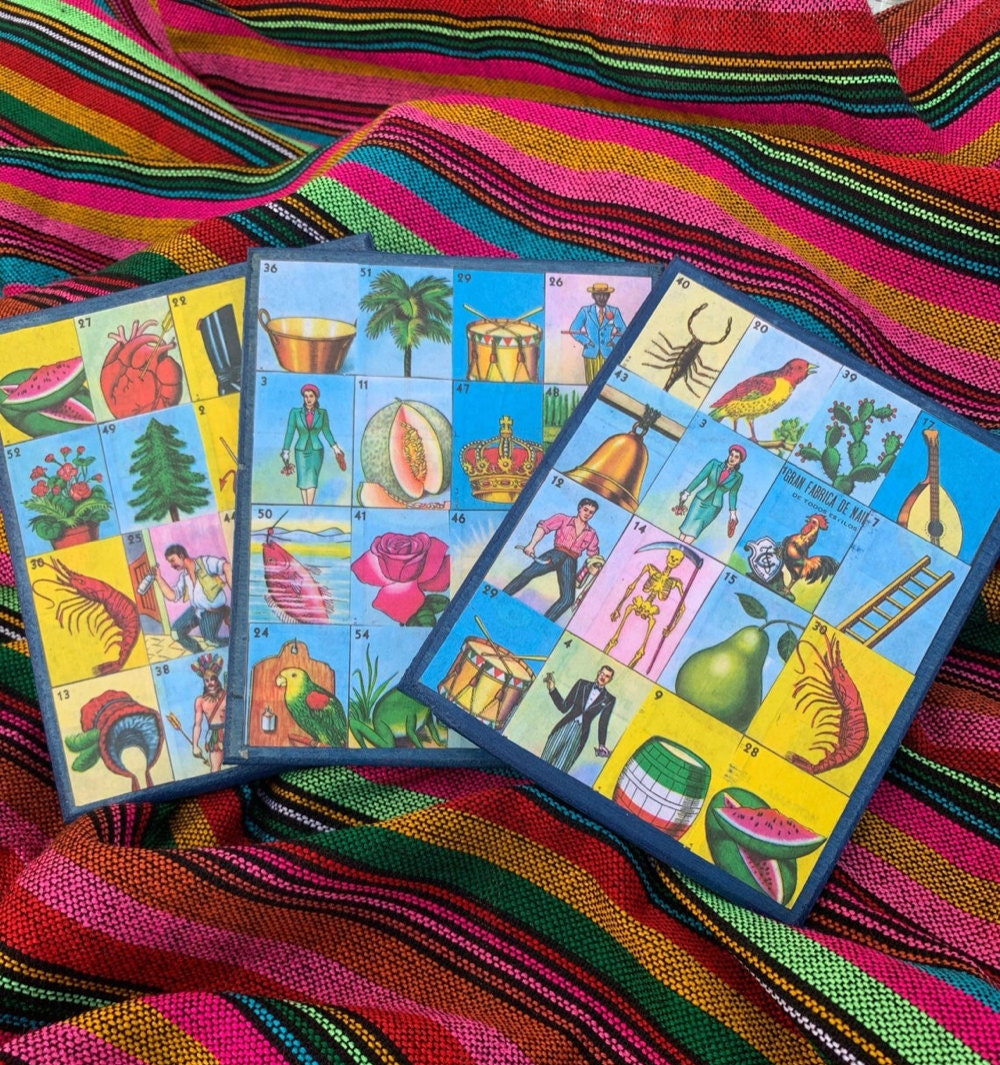 Loteria playing boards from Tx Loteria Creations