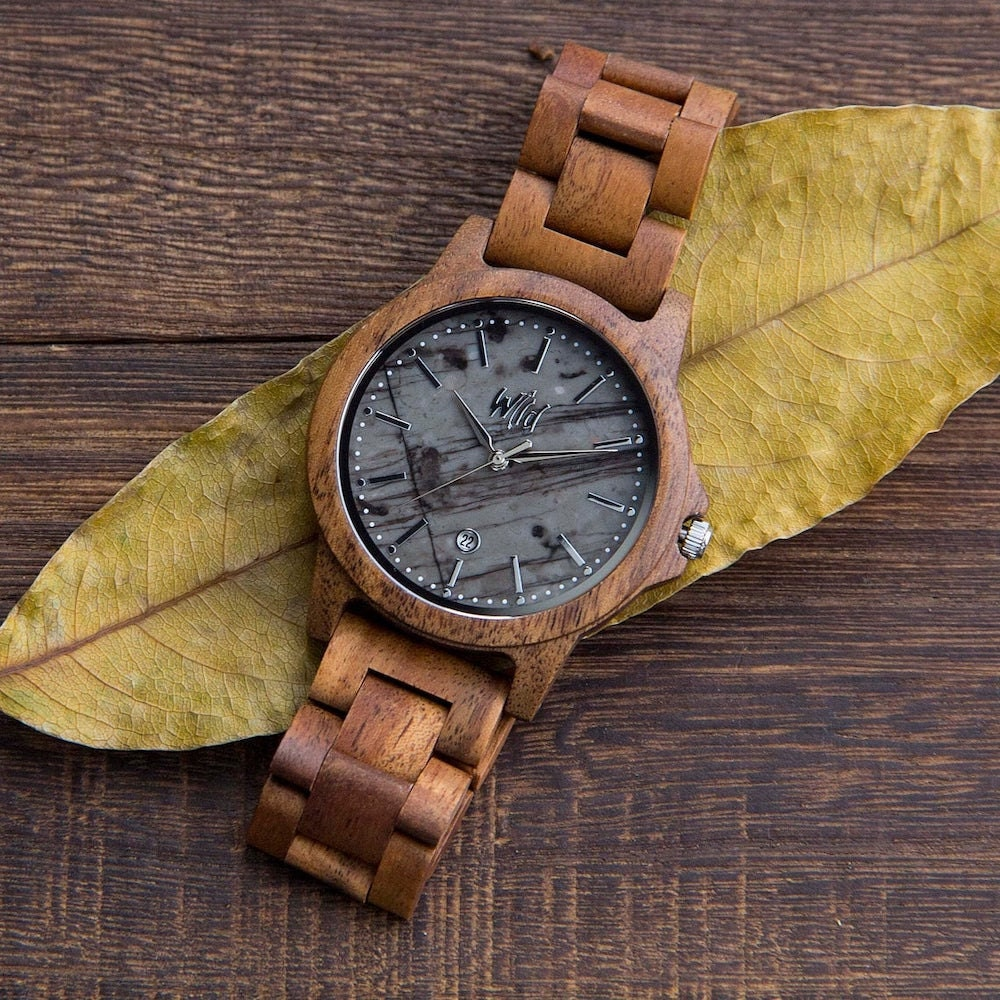 Wood-and-marble watch from Wild Watches, on Etsy
