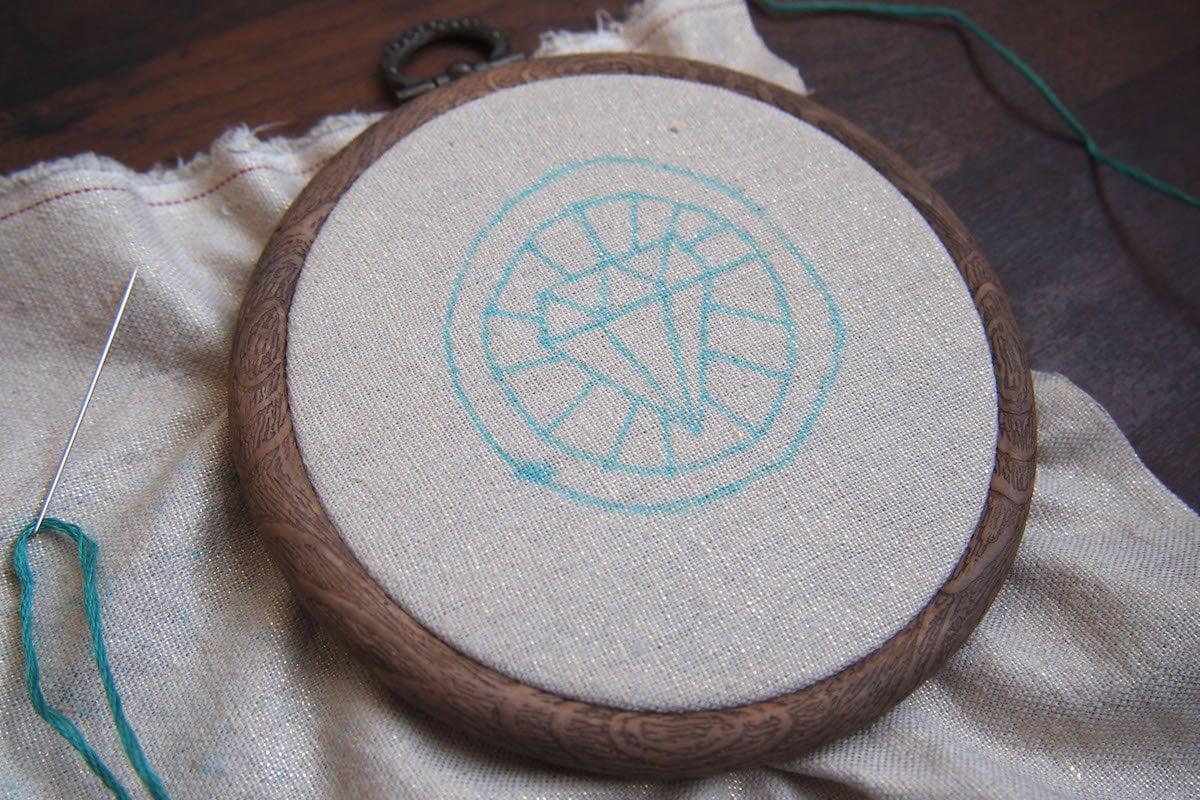 Embroidery hoop in progress