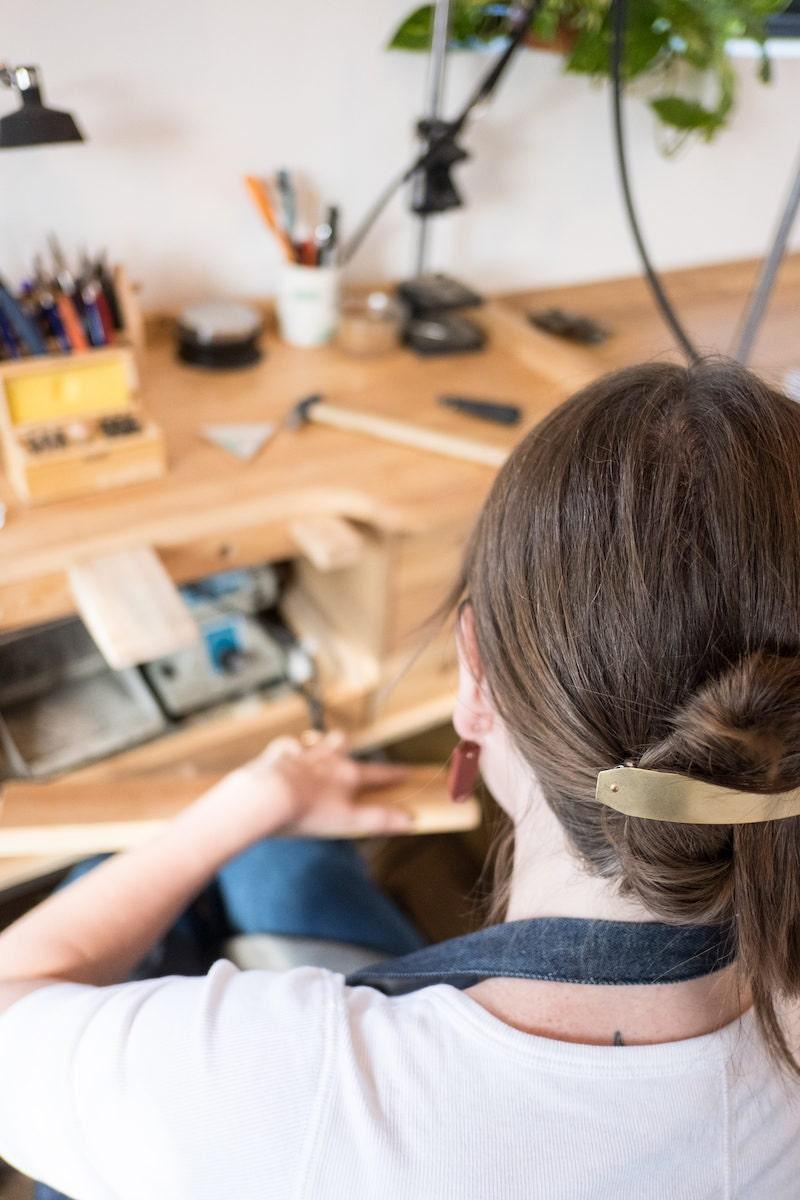 Sarah at work in her studio