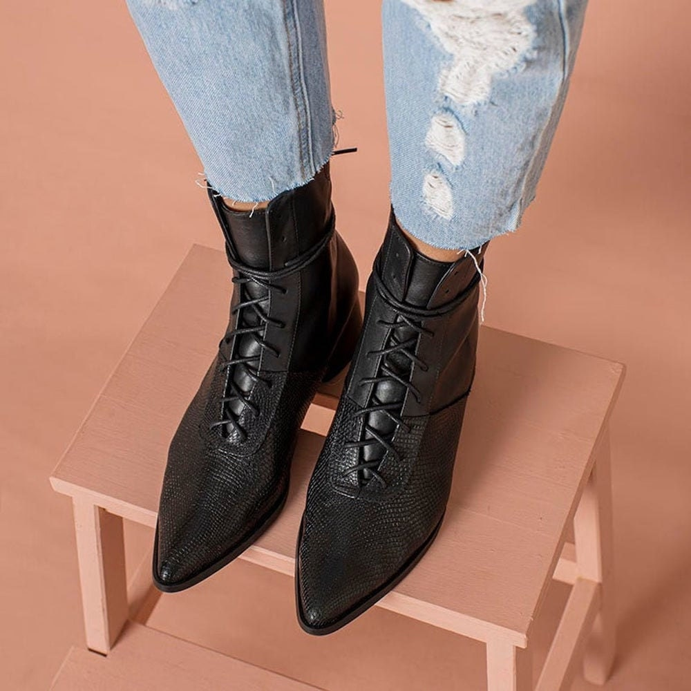 Textured lace-up leather boots from Katz and Birds