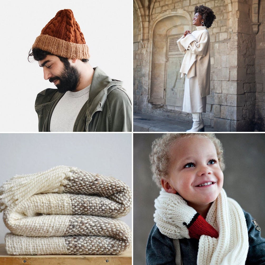 Collage of chunky knit items from Etsy: a beanie, a turtleneck, a bird-shaped scarf, and a throw blanket