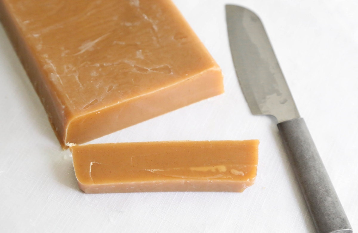 Caramel being cut into pieces