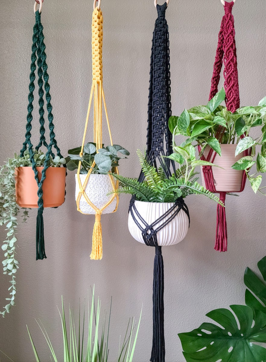 Bold-colored macrame plant hangers from Sweet Home Alberti.