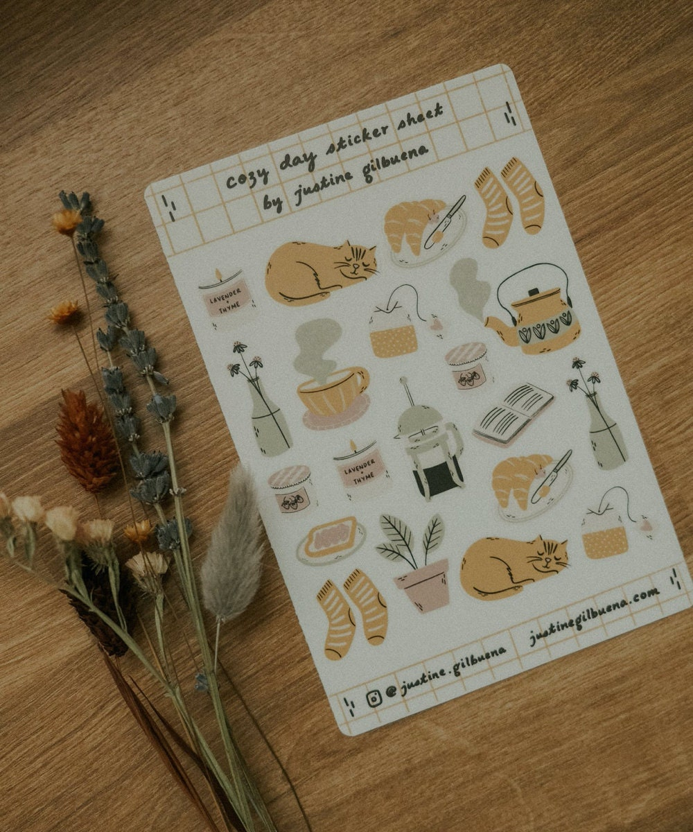 Cozy day planner stickers from Justine Gilbuena
