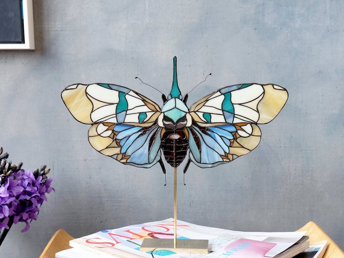 Large, colorful stained-glass butterfly from Elena Zaycman
