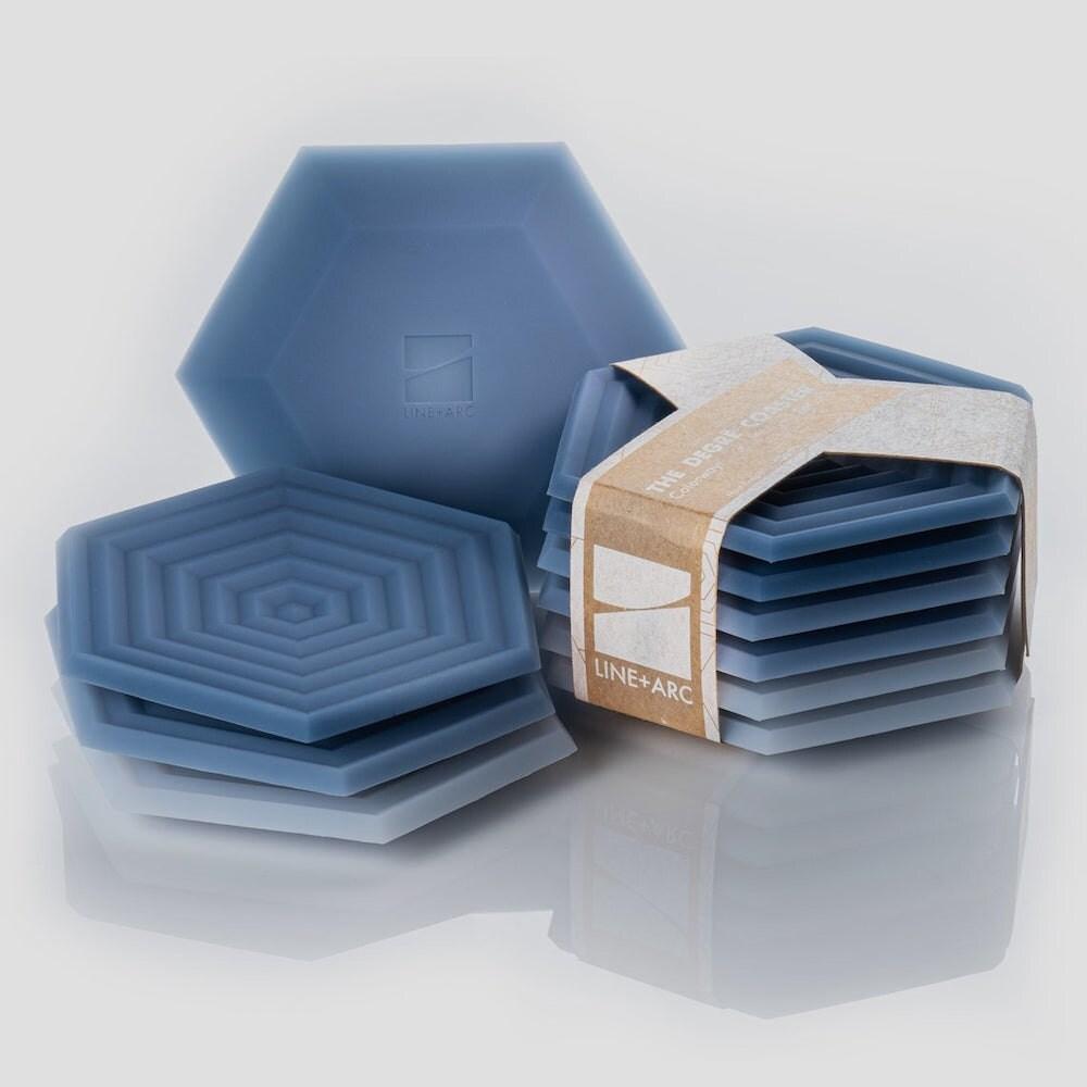 Set of 6 hexagonal ombré coasters from Line Arc Design