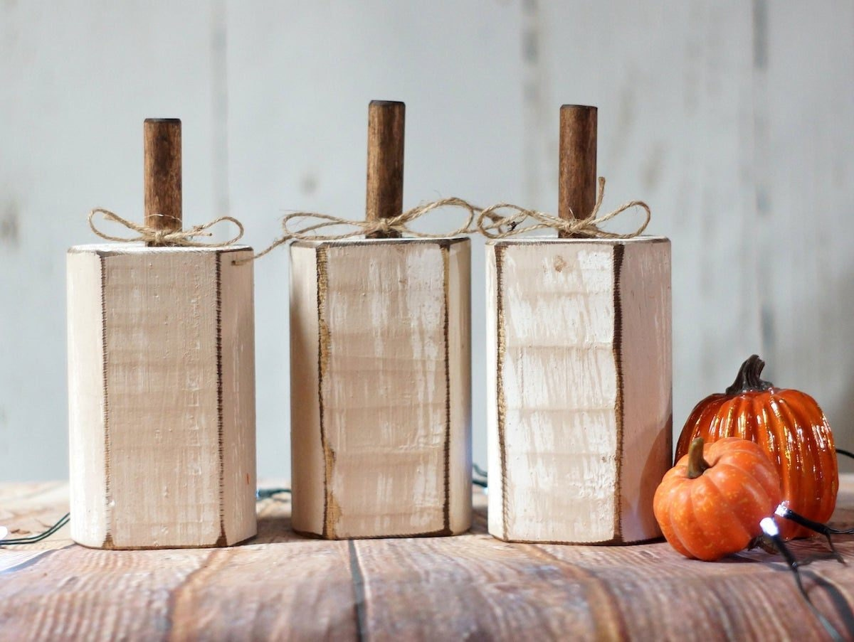 Trio of distressed white pumpkins from GFT Woodcraft
