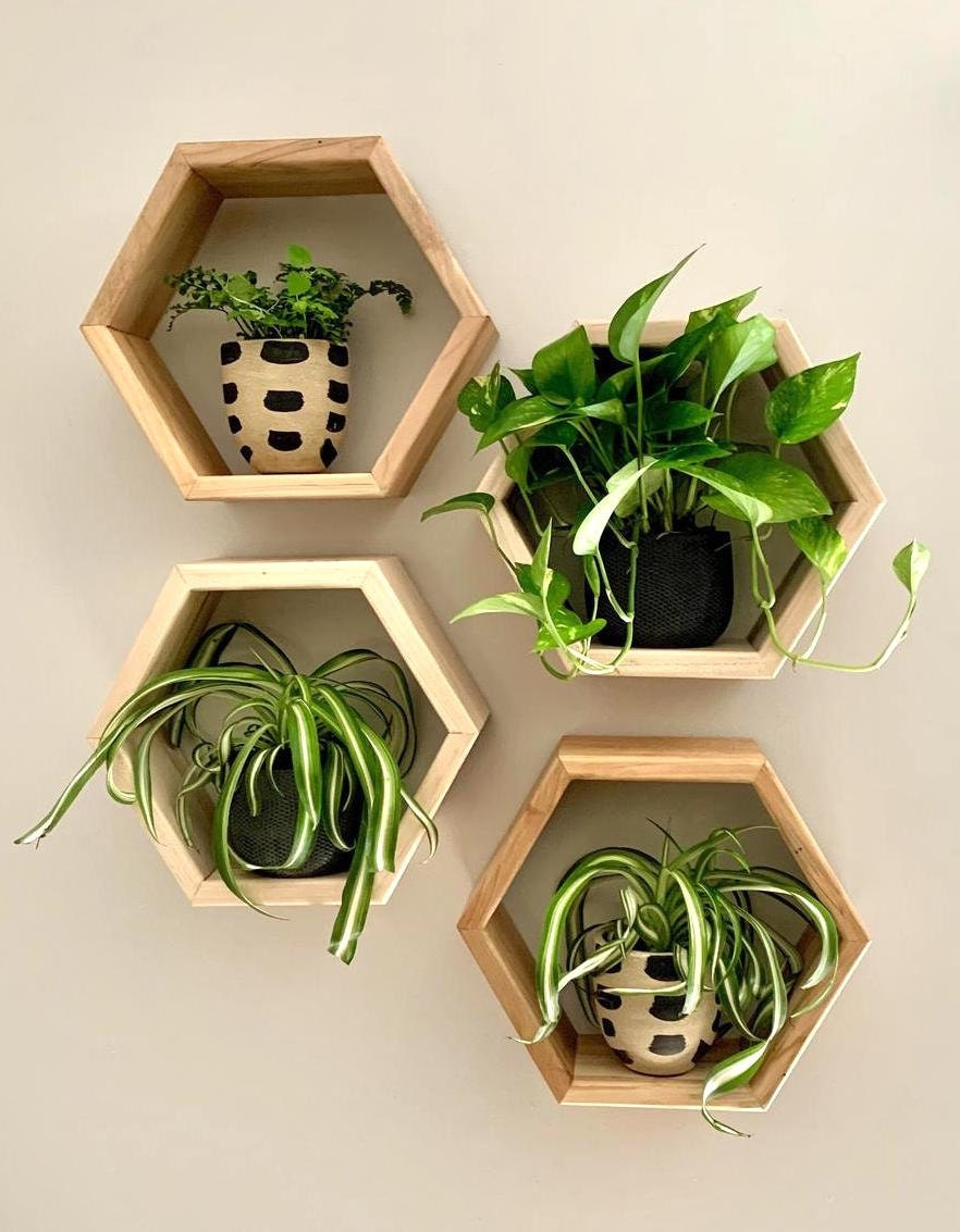 Honeycomb shelves from Crafted Glory on Etsy