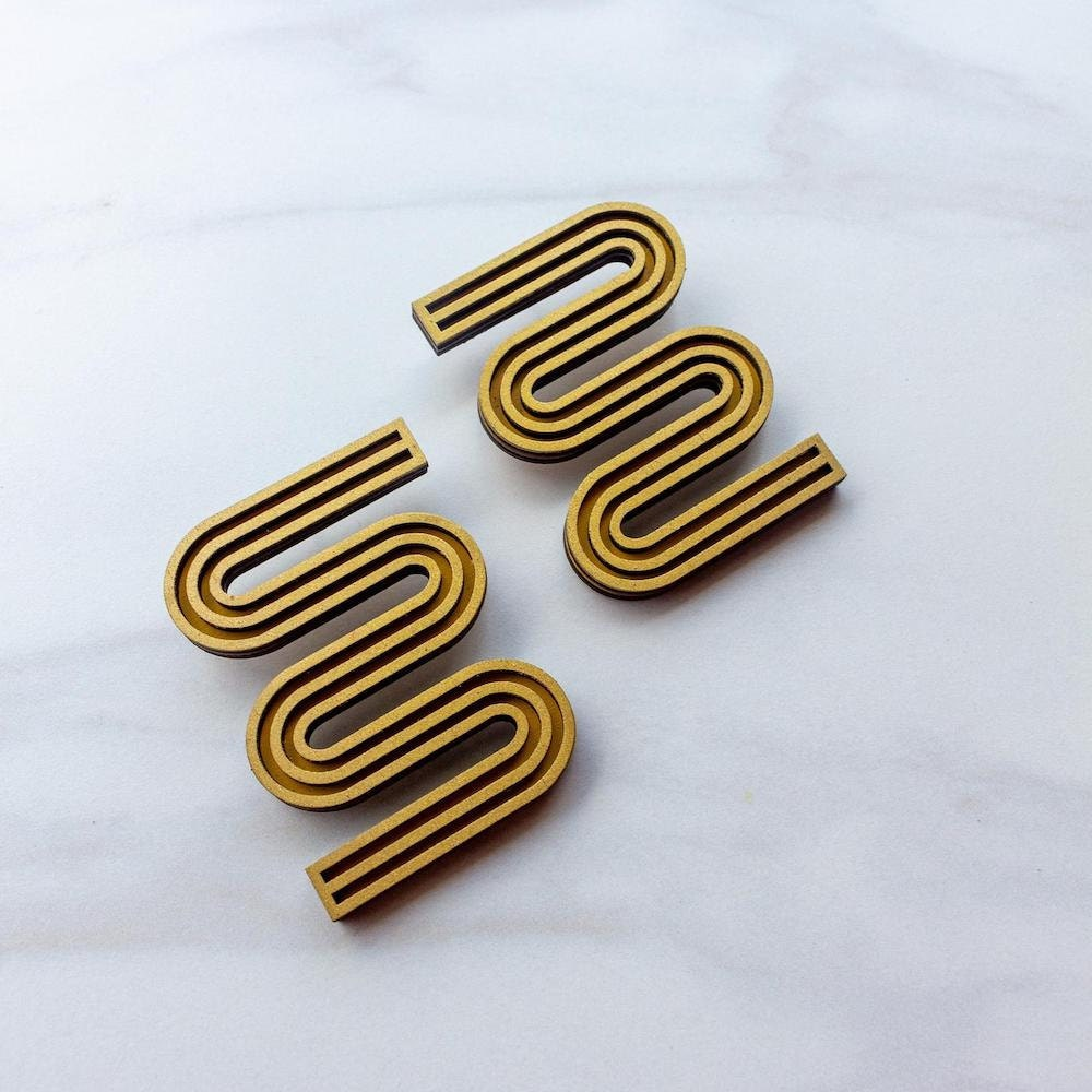 Curvy wooden statement earrings from My Moon Seeds