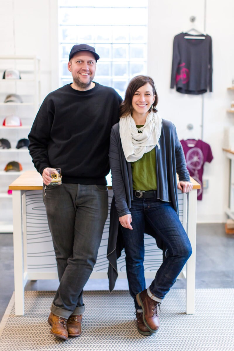 A portrait of shop owners Brett and Crystal.