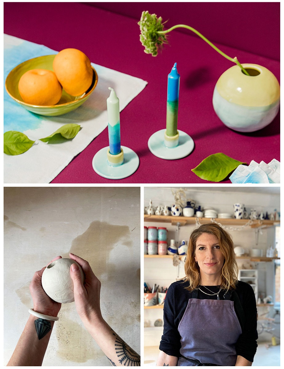 A collage of three images. Clockwise from top: Ceramic candlestick holders and vases; the maker in their studio, a work-in-progress shot.