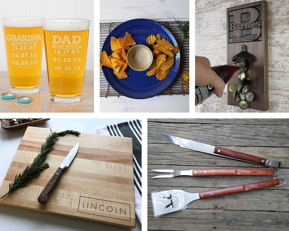 A collage of barbecue items available on Etsy