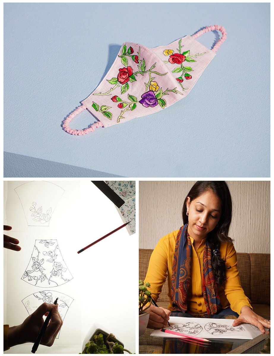 A collage of three images. Clockwise from top: a pink mask with embroidered flowers; the maker sketching the mask; the maker perfecting designs on a backlit lightbox.