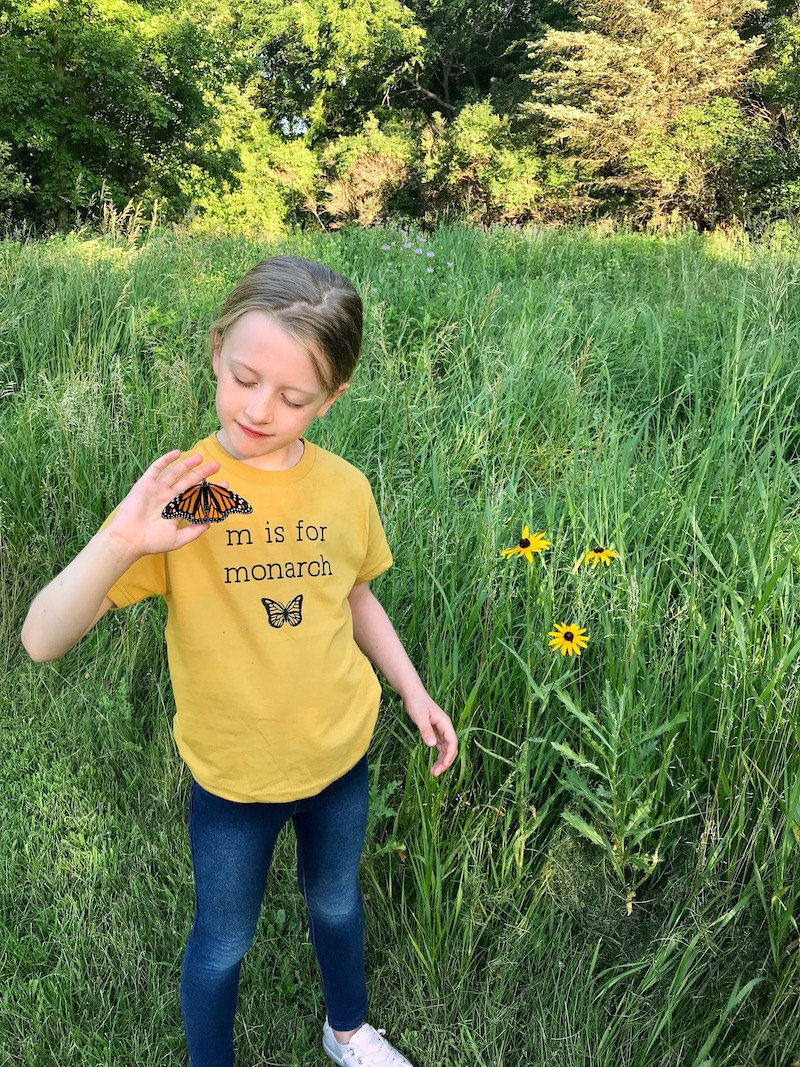 """Lindsey's daughter Haddie wears a """"M is for Monarch"""" shirt"""