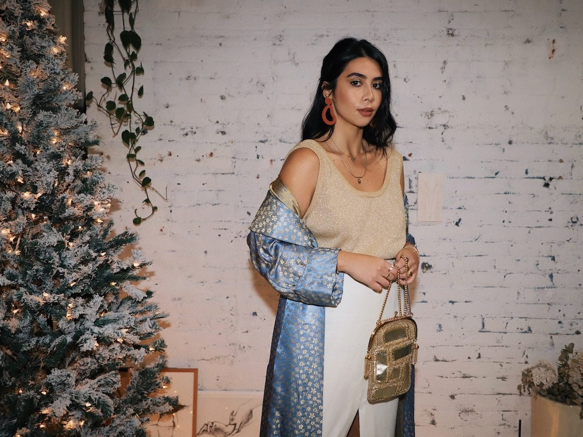 Tara Mazuki wears a festive holiday party outfit from Etsy