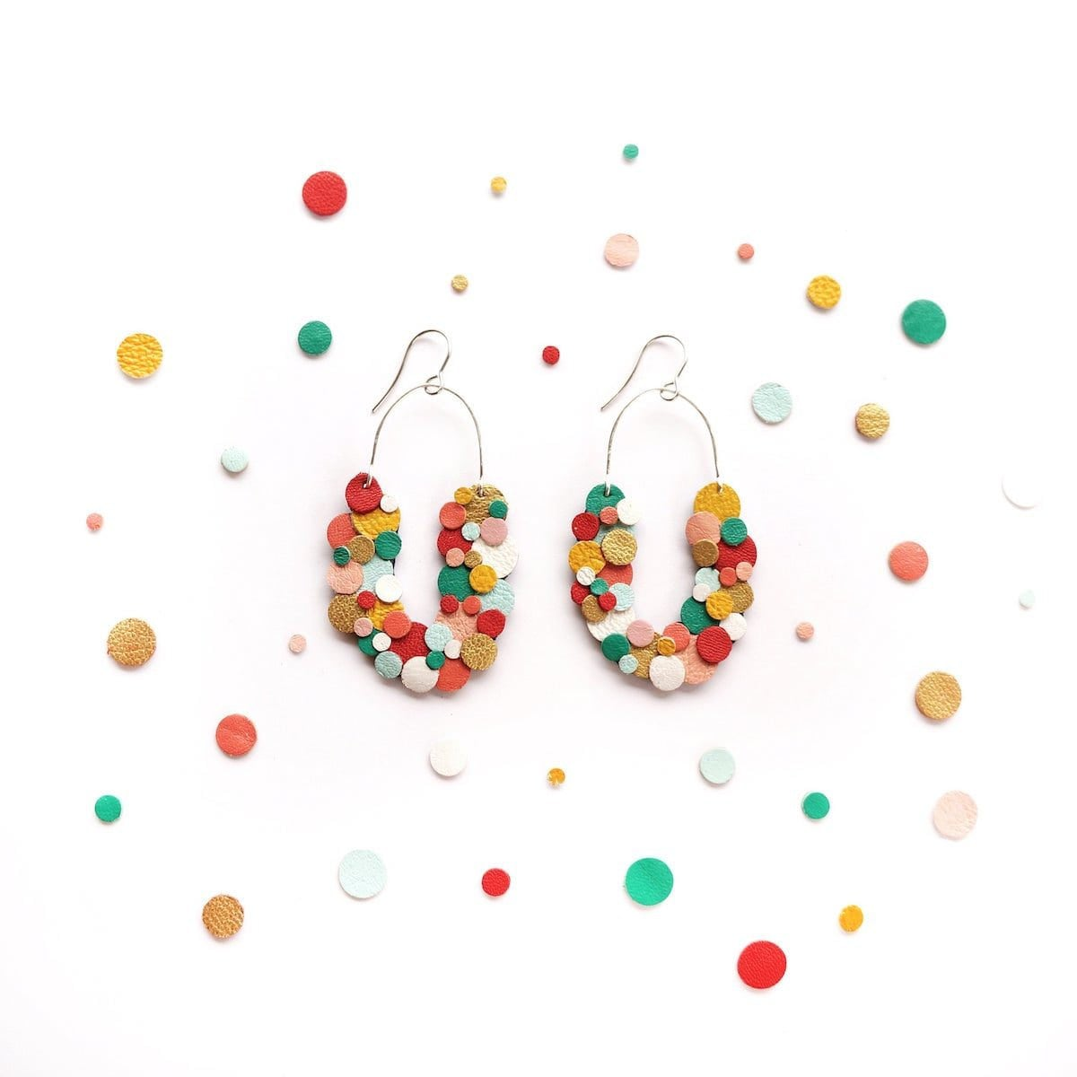 Upcycled rainbow leather earrings from Scandinazn