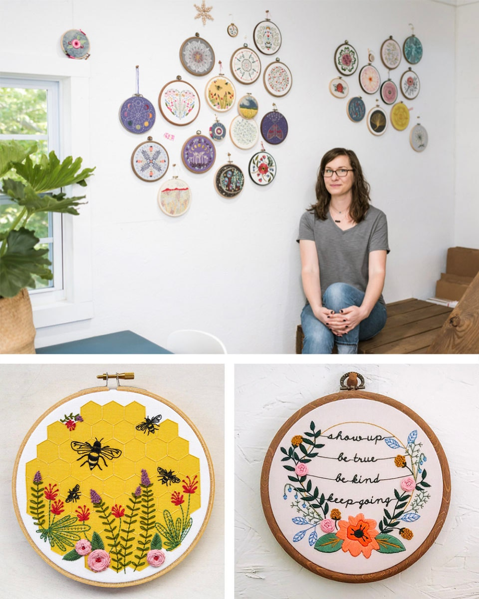A portrait of DIY embroidery kit designer Liz Stiglets collaged with two completed hoops from the Cozy Blue collection