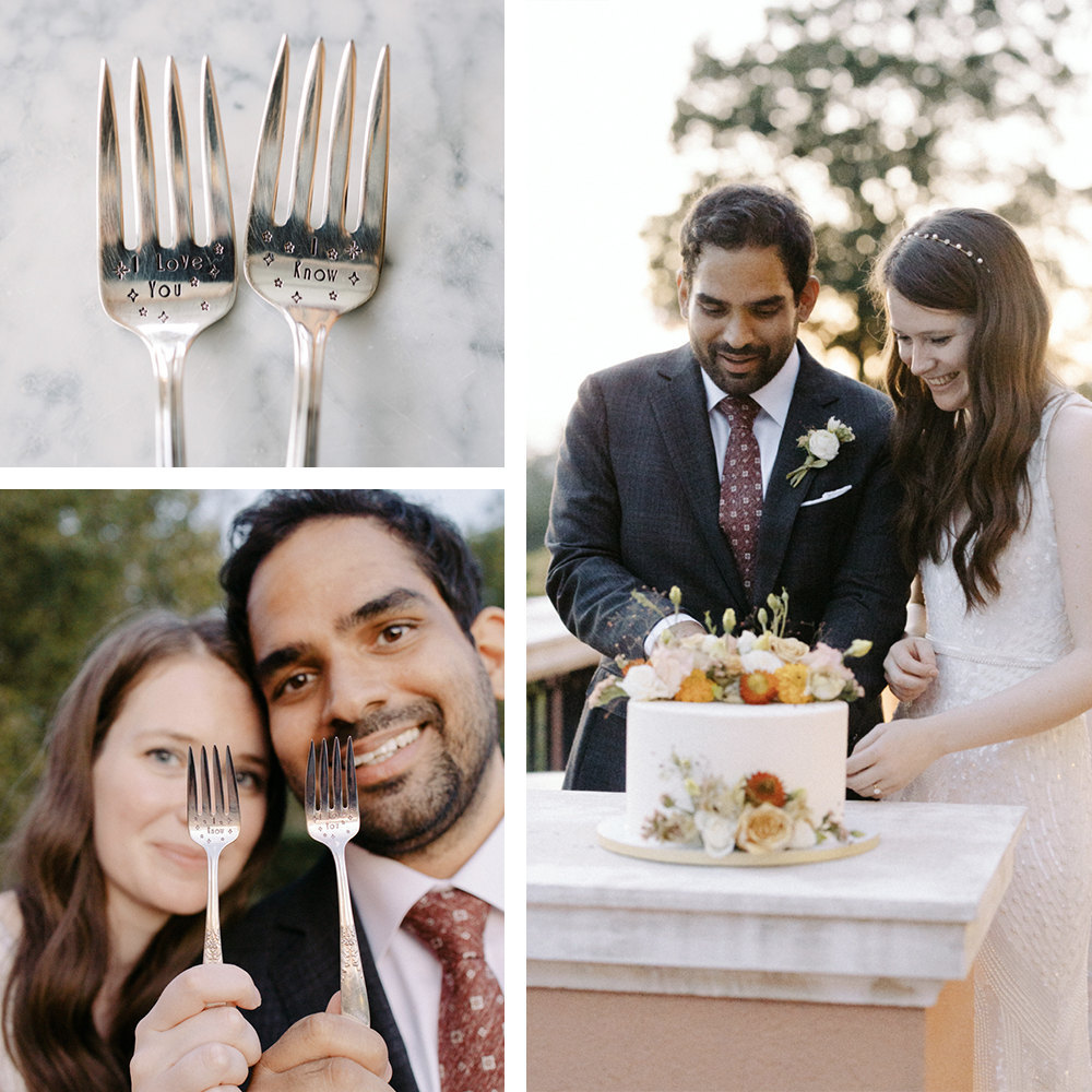 A collage of Megan and Imran's custom cake forks, available to purchase on Etsy.