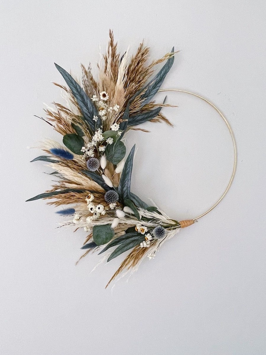 blue and brown grass wreath for fall