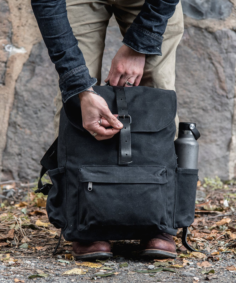 A waxed canvas backpack from Peg and Awl